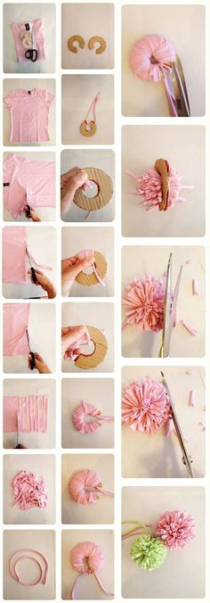 Cats Toys Ideas - mint suitcase: Come Fare un Pom Pom di una Maglietta Riciclata How to Make a Pom Pom with a Recycled T-shirt - Ideal toys for small cats Pom Pom Crafts, Yarn Crafts, Diy And Crafts, Arts And Crafts, Diy Cat Toys, Diy For Kids, Crafts For Kids, Recycled Shirts, Pom Pom Rug