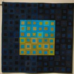 Quilt at Schweinfurth Museum, Auburn, NY art quilt aqua teal turquoise Strip Quilts, Blue Quilts, Quilt Blocks, Quilting Tutorials, Quilting Designs, Quilt Design, Square Patterns, Quilt Patterns, Contemporary Quilts