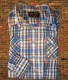 Wrangler Western Shirt Plaid Cowboy Rockabilly Long Sleeve Snaps Pockets 2XLT #Wrangler #Western
