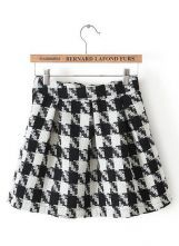 Black White Houndstooth Pleated Skirt US$17.87