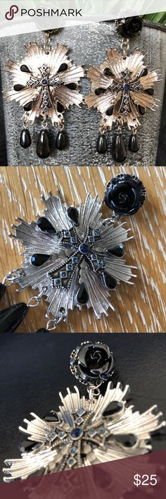 **GORGEOUS** Free People Blue Cross Earrings NWT Baroque style etched silvertone sun bursts drop from beautiful black rosebud posts, surrounded by tiny blue stones. Crosses embellish the sun bursts, with tiny black stones in the center of each, and the crosses light up with more blue stones. Black teardrop stones are inlaid around the crosses and black pearls dangle beneath. Fabulous! Leave it to Free People to make earrings like these!  Comes with dust bag. Free People Jewelry Earrings