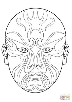 Printable Chinese Masks And Coloring Pages Fantasy Jr