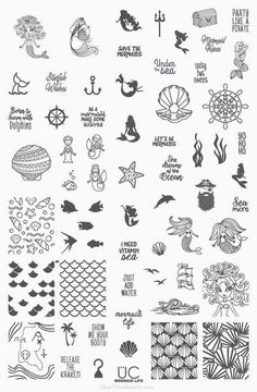 Nail stamping plate with mermaid and sea life nail designs. Free USA shipping available.