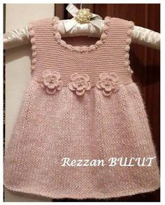 Knit dress - simple, sweet, lovely ~~ Garter bodice, stockinett skirt, finished with crochet puff stitch edging and 3 crochet flowers
