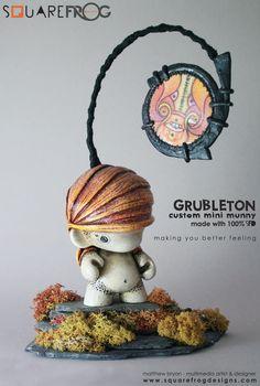 "Custom 4"" mini munny   Artist: Square Frog Designs"