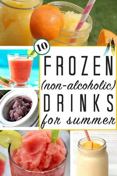 PERFECT for summer!!! Frozen drink recipes (virgin | non alcoholic) for the whole family to enjoy! Make your slushies at home this season. Kids LOVE making these popular & fun fruity drinks!