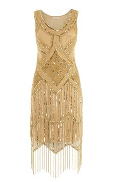 UK24 US20 AUS24 Gold Vintage 20s Flapper Gatsby Downton Abbey Deco Beaded Dress