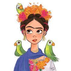 Frida y sus pericos  #fridakahlo #frida #mexico #mexicana #parrot #perico #bird #digitalart #sketch #drawing #dibujo #igers #instaart