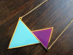 Chunky Gold Duo Triangle Geometric Necklace Purple Aqua Punk- Little Thing Shop