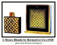 L'Heure Blonde by Bernard et Cie: launched in black glass rectangular bottle molded with wavy lines heavily gilded. Designed by Andre Jollivet. Black Perfume, Vanity Design, Needful Things, Black Glass, Vintage Black, Perfume Bottles, Product Launch, Boudoir, Cap
