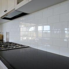 Gloss White 300 x 100 National Tiles Kitchen Cabinets, Kitchen Appliances, Kitchens, Bathroom Renos, Bathrooms, Tiles Online, Powder Room, Tile Floor, Flooring