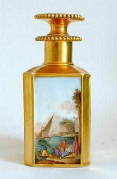 antique Paris Porcelain gilded perfume bottle