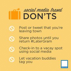 Social Media Travel Don'ts http://blog.nationwide.com/7-social-media-vacation-safety-tips?WT.tsrc=SM_NW