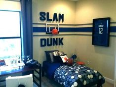 Baby boy room color decoration baby boy room colors bedrooms toddler bedroom ideas kids decor for Basketball Room Decor, Sports Room Decor, Boys Room Decor, Kids Room, Sports Theme Rooms, Kids Decor, Basketball Wall, Sport Theme, Themed Rooms