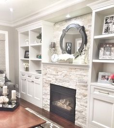 Great Photo Fireplace Remodel with built ins Popular 5 Warm ideas: Basement Plans Modern Farmhouse unfinished basement storage. Fireplace Built Ins, Home Fireplace, Living Room With Fireplace, Fireplace Design, Wall Fireplaces, Basement Fireplace, Fireplace Stone, Living Room Remodel, Home Living Room