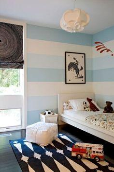 Streifen Wand Streichen Deko Idee Weiß Blau Junge