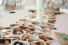wedding decor idea - place photos on the tables