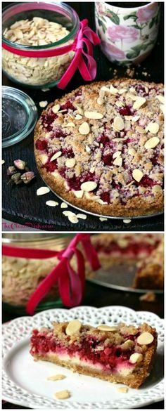 Grain-free Raspberry Sour Cream Crumble Cake #glutenfree #grainfree