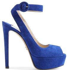"""Prada Ankle Strap Suede Platform Sandal 5 1/2"""" heel; 1 3/4"""" platform; 135mm pitch.  Adjustable ankle strap with buckle closure. Blue suede. Size 40 1/2 (fits like a 10US) Leather upper and lining/leather and rubber sole.  By Prada; made in Italy.  New with original box. Prada Shoes Platforms"""