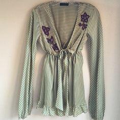 Kristina Ti silk embroidered Blouse Italian designer Kristina Ti silk blouse Tops Blouses