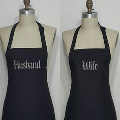 Husband and Wife personalized aprons / Black aprons with grey embroidery thread / Couples Aprons / Wedding gift idea / Hostess gift idea . by Wheelering on Etsy