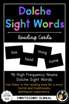 A collection of Dolche High Frequency Nouns in the following formats: Posters for wall display. Students can use the posters to daily practice reading the Dolche sight word lists individually or as a class or group. Montessori sight word reading cards PowerPoint presentations designed to be used as daily Dolche sight word reading practice using a projector or interactive whiteboard. #montessori #distancelearning #dolche #sight words #highfrequency #nouns #PowerPoint #nomenclatures #poster Word Reading, Reading Practice, Sight Words Printables, Sight Words List, Spelling Lists, Powerpoint Presentations, Interactive Whiteboard, Language Activities, Presentation Design