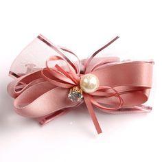 Hair Clip Fascinator Hair Bow Bowknot Imitation Pearl Rhinestone Ribbon Pink Pin #Handmade #Cocktail #DailyLifeCocktailPartyWedding