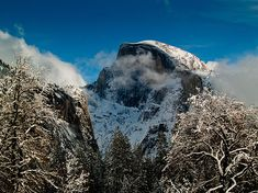 Half Dome Winter, Bill Gallagher Photography. Half Dome, Winter, Snow, Clouds,