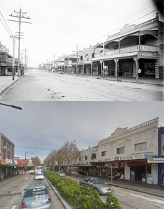 Great North Road, Five Dock circa 1920 and 2014. [circa 1920 - State Library of NSW>2014 - Google Street View. By Phil Harvey] Five Dock, Phil Harvey, Great North, Historic Architecture, Space Place, South Wales, Old Photos, New Zealand, Sydney
