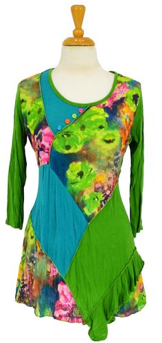 Green Floral Patch Tunic