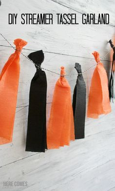 DIY Streamer Tassel Garland A Streamer Tassel Garland is a cheap and easy party decoration. Learn how to make one with this simple tutorial. Streamer Party Decorations, Party Streamers, Streamer Ideas, Garland Ideas, Decorating With Streamers, Diy Halloween Decorations, Halloween Diy, Halloween Stuff, Halloween Halloween