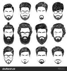 A set of mens hairstyles, beards and mustaches.Gentlmen haircuts and shaves. Dig… A set of mens hairstyles, beards and mustaches.Gentlmen haircuts and shaves. Beard Styles For Men, Hair And Beard Styles, Long Hair Styles, Facial Hair Styles, Mens Hairstyles With Beard, Haircuts For Men, Male Hairstyles, Drawing Hairstyles, Haircut Men