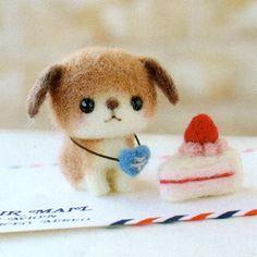 DIY handmade Japanese Felt Wool Friend Kit Package - Cream Tart Kitty and Cake Doggie to choose from. $20,00, via Etsy.