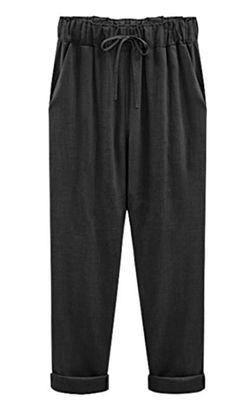 ea38c7535257 Papijam Women s Linen Solid Plus Size Tie Front Ankle Length Pants