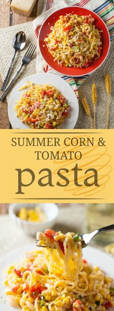 Summer freshness at its best! Summer Corn and Tomato Pasta combines simple ingredients that have big fabulous flavor! Use with gluten free or any pasta! Yummy Pasta Recipes, Quick Dinner Recipes, Breakfast Recipes, Noodle Recipes, Summer Recipes, Rice Recipes, Delicious Recipes, Healthy Pastas, Healthy Recipes