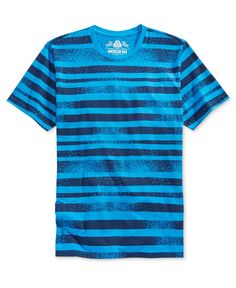 Amp up your style factor with this crew-neck T-shirt from American Rag, featuring a unique distressed stripe pattern. | Cotton/polyester | Machine washable | Imported | Crew neck | Short sleeves | Dis