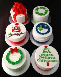 """Mini Christmas Cakes - Trying out cake designs for this year. 4"""" mini fruit cakes."""