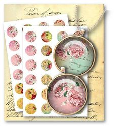 624-Shabby Roses 1 inch Circles Digital Collage Sheet Download - Vintage Papers - Digital collage sheets, Vintage Clipart, Printables, Scrapbooking supplies