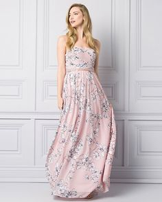 A soft pink floral-print gown would look divine on your bridesmaids #lechateau #lewedding #styledowntheaisle