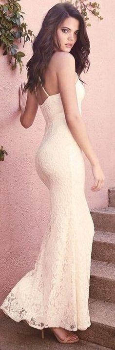 #summer #lulus #fashion | Cream Lace Maxi Dress