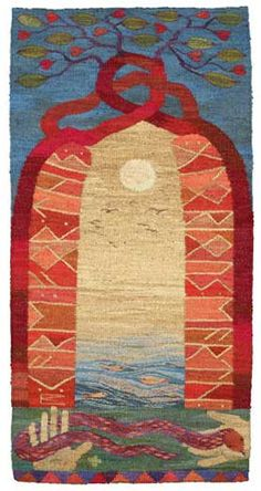 Message , a tapestry weaving by Kirsten Glasbrook
