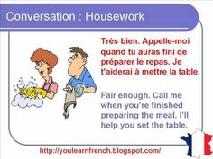 French Lesson 157 - Housework Household chores - Dialogue Conversation + English subtitles