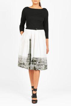 Landscape Print Belted Mixed Media Dress