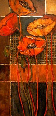 Poppy Patterns, 1038, textured, mixed media poppy painting © Carol Nelson Fine Art -- Carol Nelson