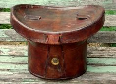 Antique Leather Victorian Top Hat Box/Bucket lined with striped fabric