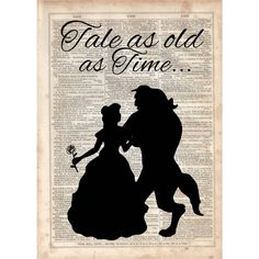 Tale as Old as Time,Beauty and the beast, Dictionary Art Print,... ($10) ❤ liked on Polyvore featuring home, home decor, wall art, vintage home decor, disney home decor, silhouette picture, disney and disney wall art