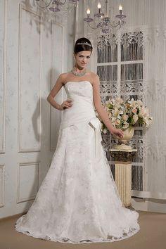 A-Line Strapless Satin Lace Court Train Bowknot Wedding Dress