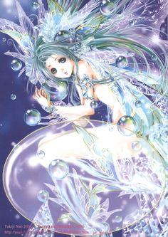 mermaid by tukiji nao, an amazing japanese doujinshi manga artist who specializes in dreamy ethereal fairy girls. Manga Anime, Anime Elf, I Love Anime, Awesome Anime, Fantasy Kunst, Fantasy Art, Kawaii Anime, Monster Pictures, Anime Mermaid