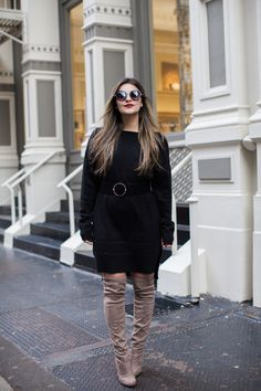 A sweater dress is one of the easiest ways to be comfortable in a corporate setting while still being polished. Check out how Dana styles hers!