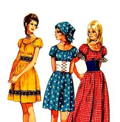 Boho 70s Sewing Pattern Storybook Mini Maxi Peasant Dress Wide Midriff and Scarf Simplicity 9164 Vintage Pattern Bust 32 on Etsy, $9.95